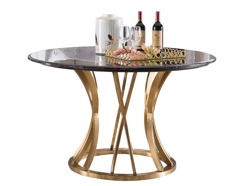 凯迪斯顿家具轻奢餐厅餐桌椅G801-12美式轻奢801大理石金属餐桌椅餐桌奢华圆餐台现代简美餐桌餐厅
