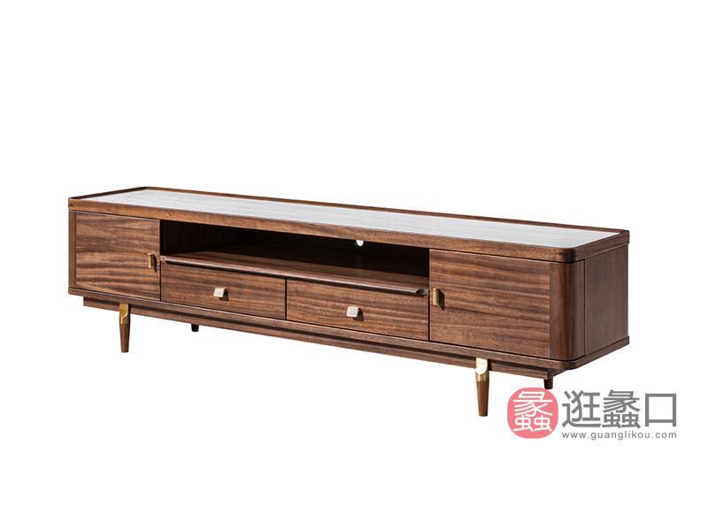 璞苑家具新中式客厅电视柜实木大理石台面2米电视柜B8205电视柜