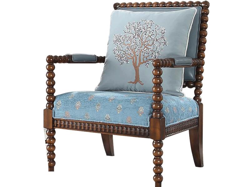 凯迪斯顿家具美式客厅休闲椅经典美式602沙发椅布艺扶手书椅欧式实木休闲椅电脑椅Y602-9