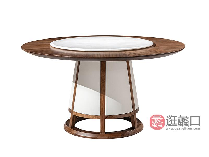 璞苑家具新中式餐厅餐桌椅实木圆餐桌D8101圆餐桌