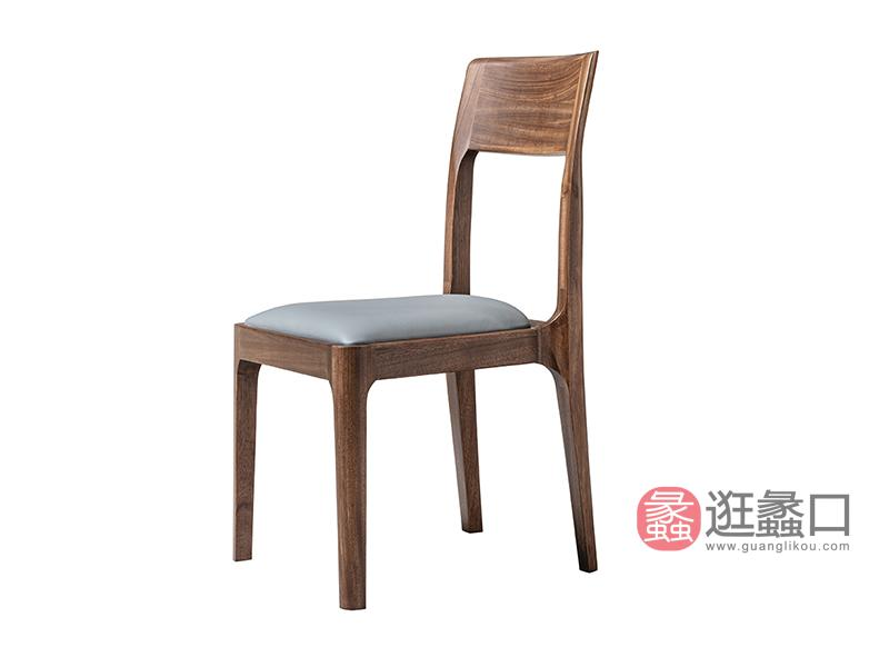 璞苑家具新中式餐厅餐桌椅软包坐板实木餐椅D8205餐椅