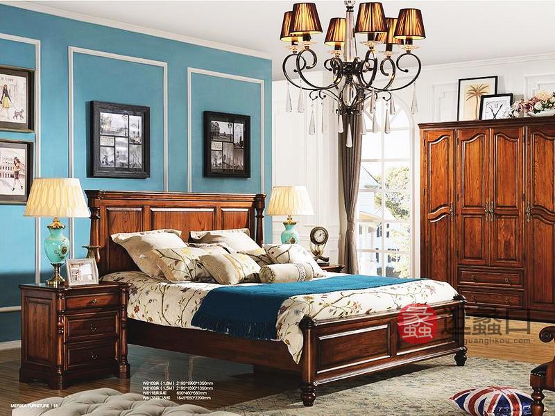美伦卡家具美式卧室实木双人床W8109+2个床头柜W8118+四门衣柜W8138组合