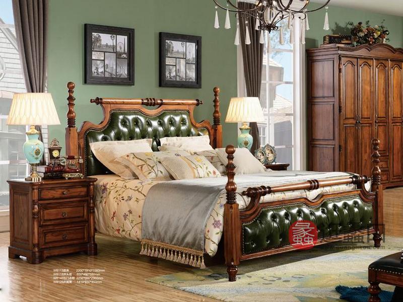 健辉家居·美伦卡家具美式卧室实木皮床双人床W8113/床头柜W8118/五门衣柜W8140/床尾凳