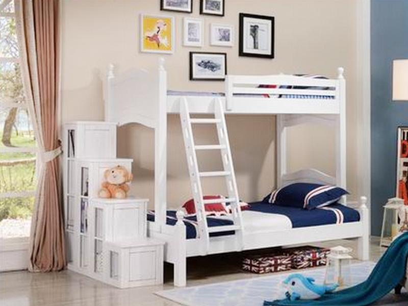 美伦卡家具美式卧室实木白色带扶梯子母床W8107
