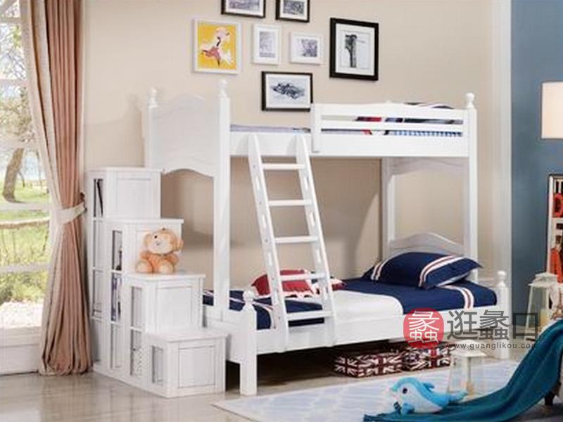 健辉家居·美伦卡家具美式卧室实木白色带扶梯子母床W8107