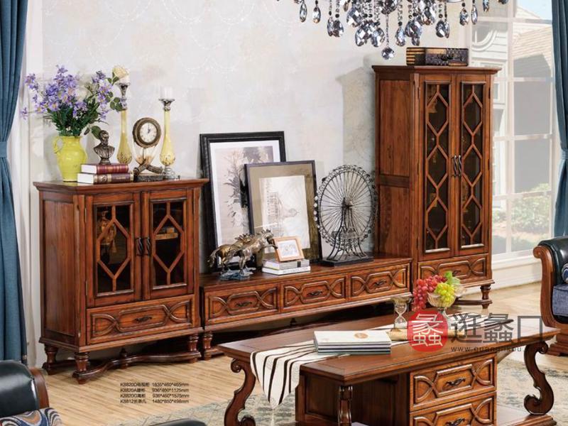 健辉家居·美伦卡家具美式客厅实木电视机柜K8820D/高柜/矮柜/长茶几K8812