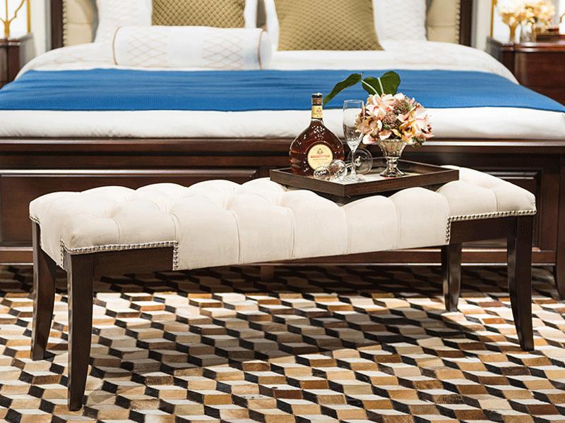 凯迪斯顿家具美式卧室床尾凳美式实木床尾凳新古典长凳卧室欧式复古床榻穿鞋凳F801-3