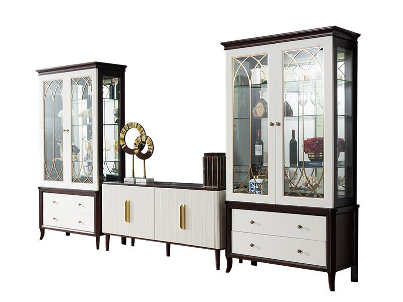 凯迪斯顿家具美式餐厅餐边柜现代轻奢餐边柜简约美式实木备餐柜简美餐厅酒柜组合K801-6