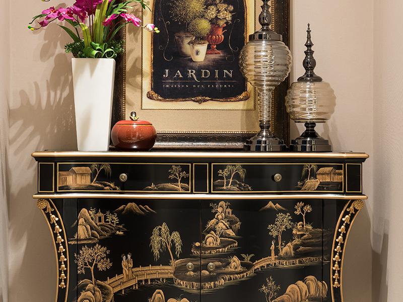 凯迪斯顿家具美式客厅玄关柜新古典玄关柜实木欧式后现代雕花装饰柜门厅储物柜Q801-2
