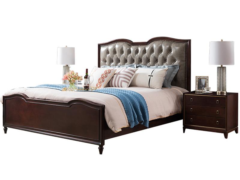 凯迪斯顿家具美式卧室床美式床实木床简美真皮床1.8m双人床主卧婚床别墅床A801-13