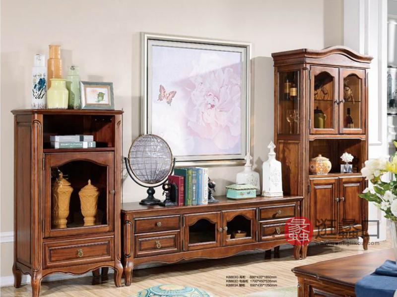 健辉家居·美伦卡家具美式客厅实木电视机柜K8863D/高柜/矮柜K88863A