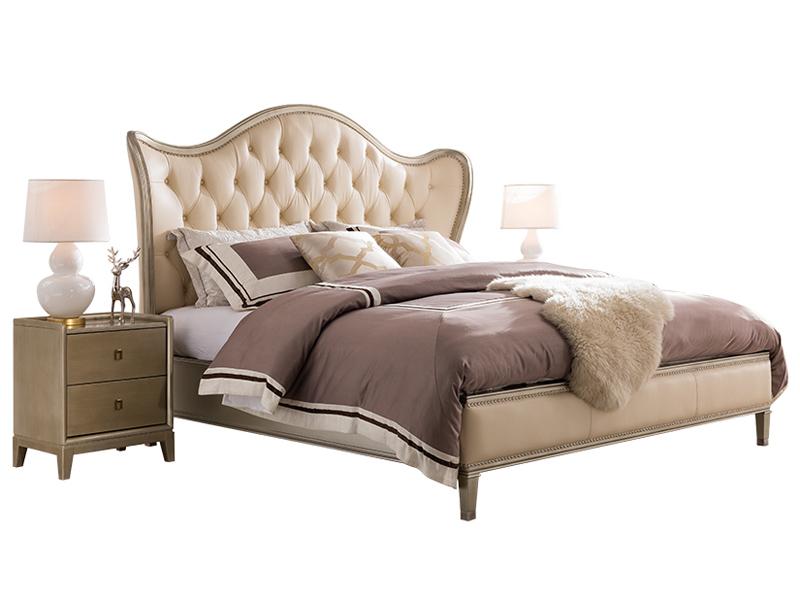 凯迪斯顿家具美式卧室床美式床实木床香槟色轻奢主卧双人床公主床真皮床A801-26