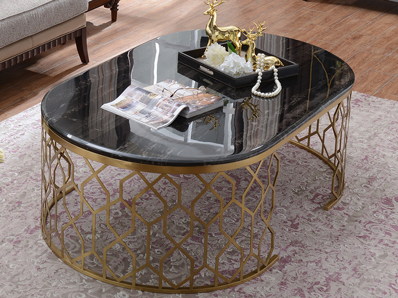 凯迪斯顿家具美式客厅茶边几美式大理石茶几简美椭圆茶几现代简约客厅大茶几N801-32