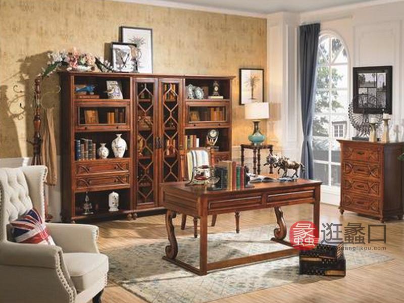 健辉家居·美伦卡家具美式书房实木书桌椅/S8901组合书柜