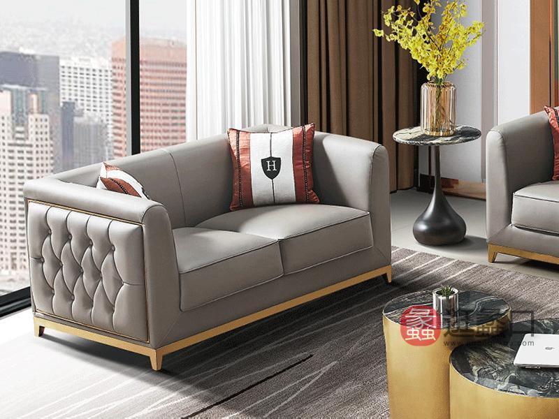 汇垄雅美家具轻奢客厅沙发A1989-1沙发客厅仿真皮沙发组合单人+双人+三人位