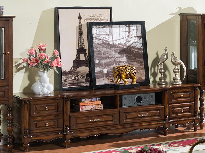 凯迪斯顿家具美式客厅电视机柜美式乡村实木电视柜客厅矮柜简约欧式复古地柜酒柜M602-10