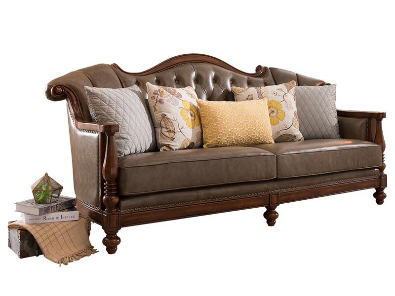凯迪斯顿家具美式客厅沙发美式沙发真皮组合简美沙发乡村实木客厅沙发单人位双人位三人位X602-31