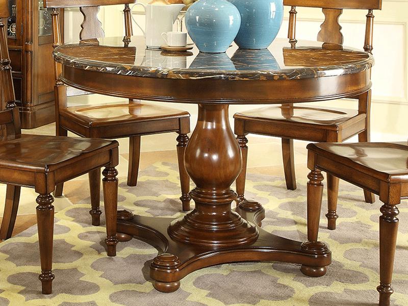 凯迪斯顿家具美式餐厅餐桌椅美式乡村全实木餐桌欧式复古圆餐桌简美小户型饭桌G602-13