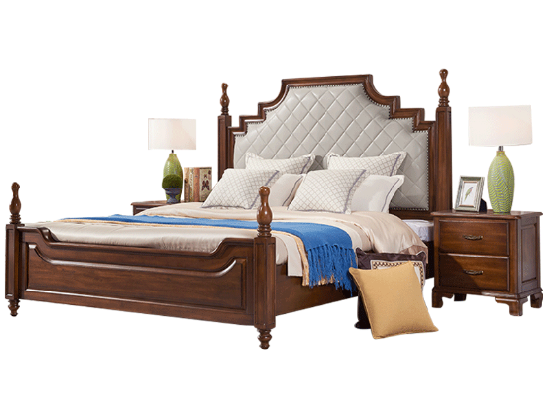 凯迪斯顿家具美式卧室床现代美式简约实木床简美轻奢卧室皮艺床别墅主卧床A602-33